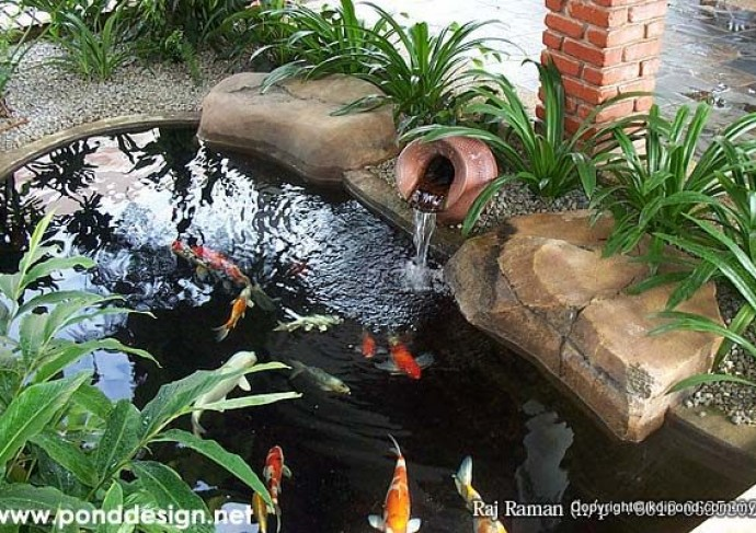 Koi pond design filter system fountain design and for Fish pond filter design